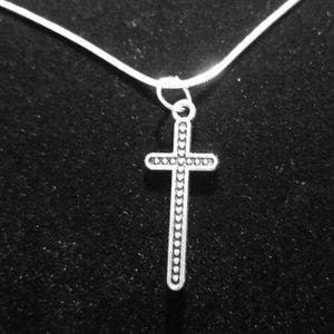 """Beaded Cross 22""""\ .925 Sterling Silver Necklace"""